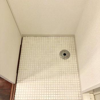 脱衣所入って左が洗濯機置き場です。脱いだ服をすぐ洗えます。