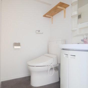 トイレはウォシュレットがついてます!洗面台は収納もついて使いやすいものですね。※写真はクリーニング、通電前のものです