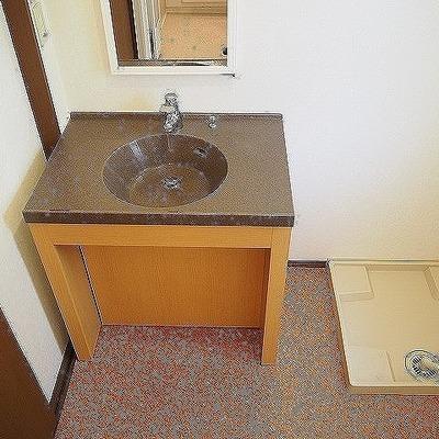 独立洗面台と室内洗濯機置き場です。