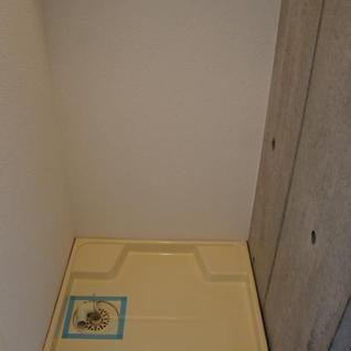 洗濯機置きには扉がついてるので隠せます