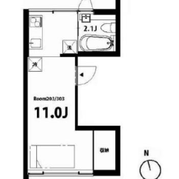居室が広めな1R。