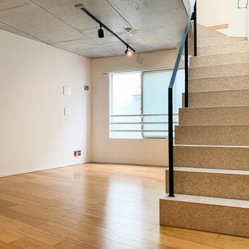 【2階】こちらのお部屋は、天井もコンクリート打ちっ放しになっています。