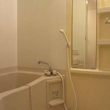 ミニマムな浴槽ですが鏡付が嬉しい