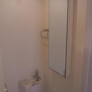 トイレに小さな洗面台と、縦長の鏡。