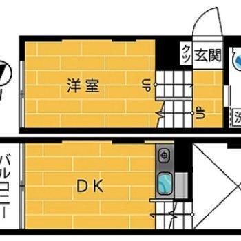 メゾネットタイプ1DKのお部屋です。
