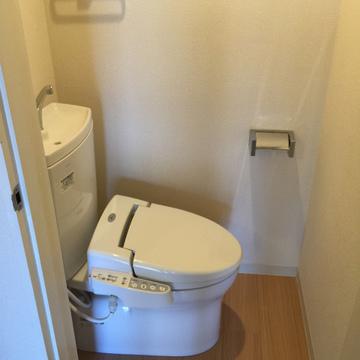 横置きのウォシュレット付きトイレ。