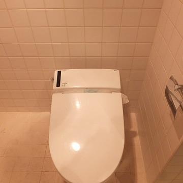 洗面台の向かいはトイレ。