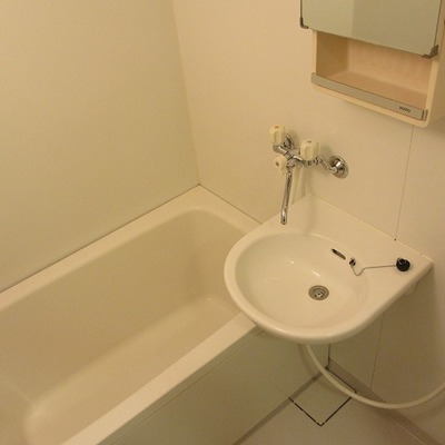 お風呂はフツウ。2点ユニットですがキレイです。追い焚きもあるのでGOOD