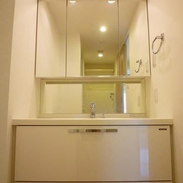 鏡の奥も収納スペースです