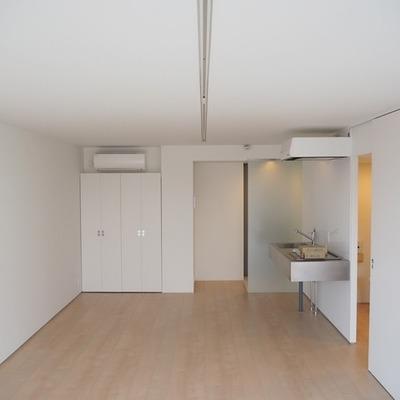 天井にまっすぐ伸びる線はライティングレールです。