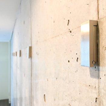 【DK】コンクリートの壁にはブラインドフックが。グリーンなどを垂らしてみてもいいですね。