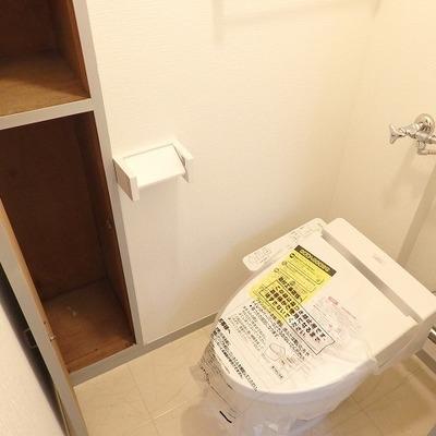 トイレの収納はちょっと古さを感じます。