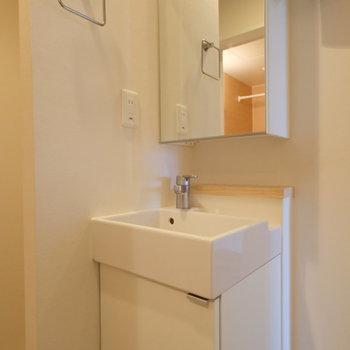 洗面台の鏡も収納になっています。※写真はクリーニング中