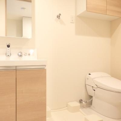 洗面台とトイレ、洗濯機置場は並んでいます。
