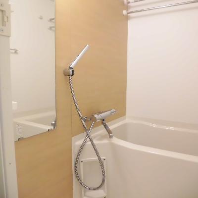 お風呂の壁も同系色