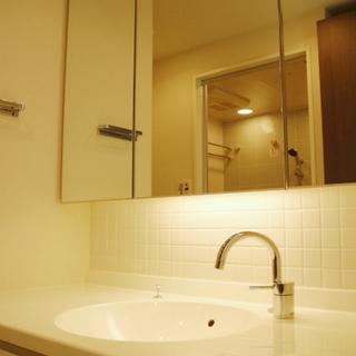 独立洗面台。大きな鏡がうれしい