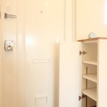 玄関のシューズボックスは隠し扉的なところに。