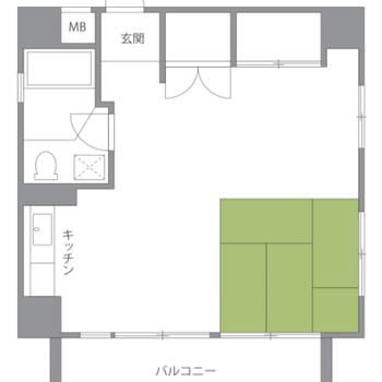 和室スペースのある正方形ワンルーム