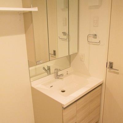 洗面台も大きめです。鏡の裏は収納になっています。
