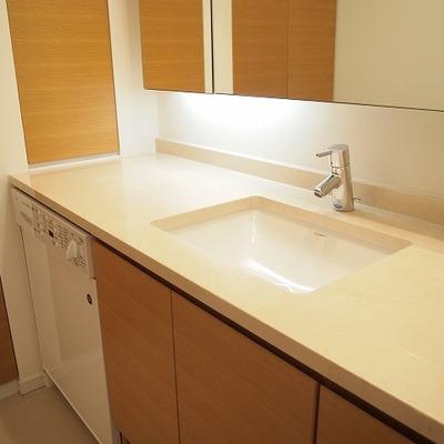 洗面台も清潔感があります。