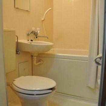 バスルームは3点ユニット、きれいです。