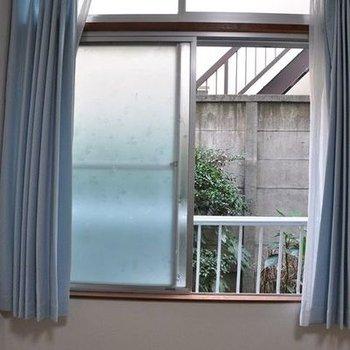 窓の外は植え込みがあり、悪くない雰囲気。