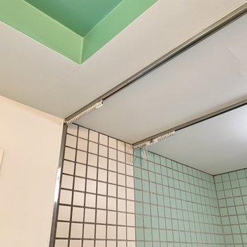 シャワーカーテンで2重に仕切られます。