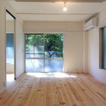 窓からは緑が透けて見えます。※写真は別部屋、前回募集時のものです