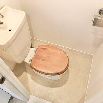 その隣には個室トイレ。無垢材の便座が可愛らしいですね。