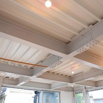 天井は無垢床とは一変して工業的なデザイン!