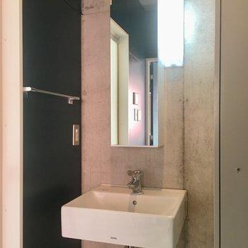 洗面台の鏡の裏にも収納あり。
