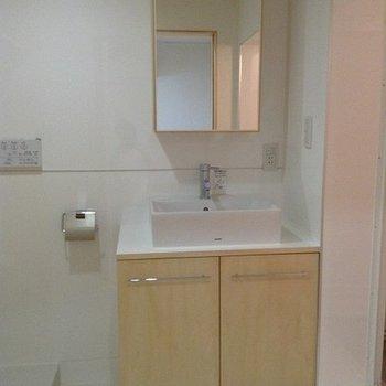 独立洗面台も脱衣所にあります。