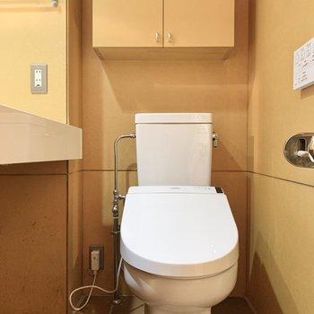 【1F】トイレットペーパーは上部の棚へ。