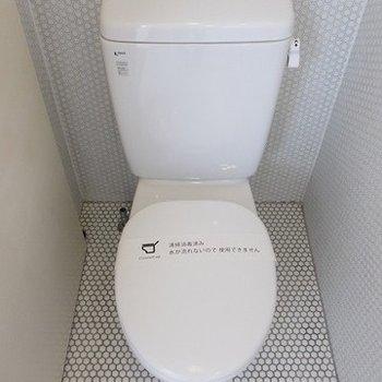 トイレです右横に収納棚がついています!