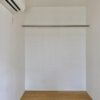 このお部屋唯一の収納部分。衣類と小物はここへ。
