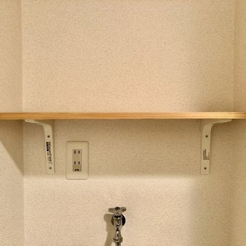 洗濯機の上方に洗剤などを置いておけます。
