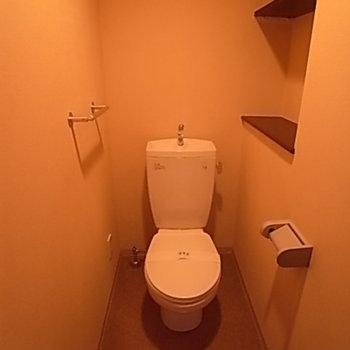 トイレに棚が!便利です。