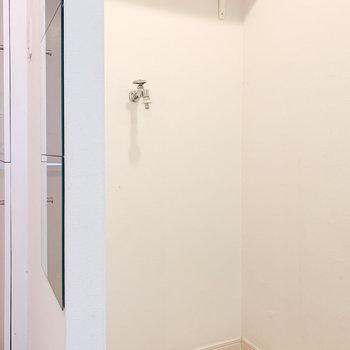 キッチンの後ろには洗濯機置場。上の棚には洗剤を※写真はクリーニング前のものです