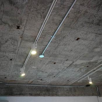 むきだしの天井にライティングレール。
