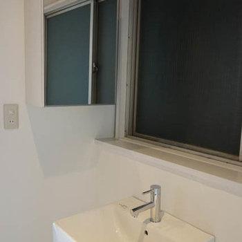 洗面台は意外にしっかりしてます。鏡の裏は収納。