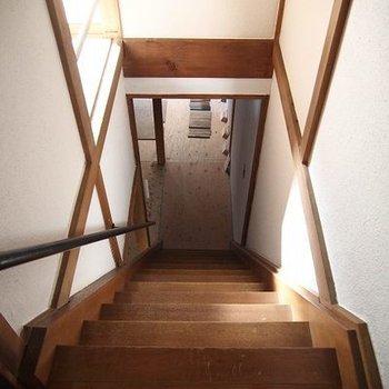 階段は急なので気をつけて