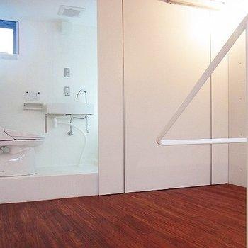 大きな扉を開けるとトイレが登場