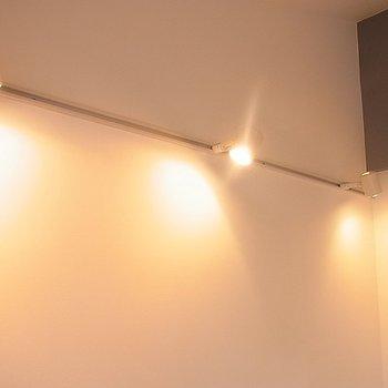 照明はライティングレールを採用。※写真は別部屋