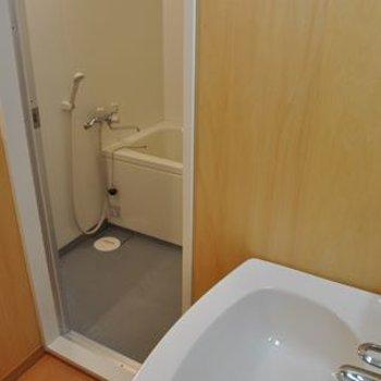 バスルームには、脱衣所兼洗面所あり。