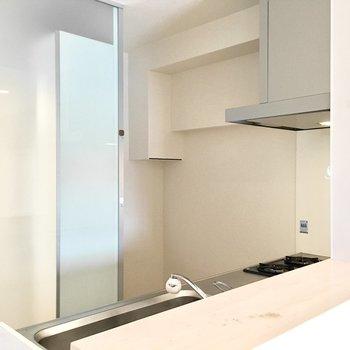 後ろには冷蔵庫スペースもちゃんとあります。