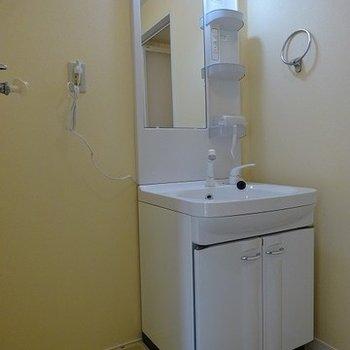 洗面台はシンプルなタイプ