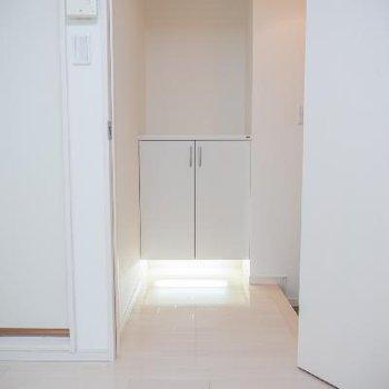 シューズボックス下部の照明がオシャレです