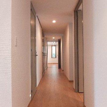 長い廊下!!7つのドアに囲まれます。