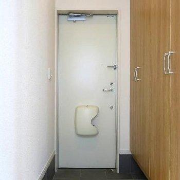 くつ箱、全身鏡、収納、すべて玄関すぐにあります