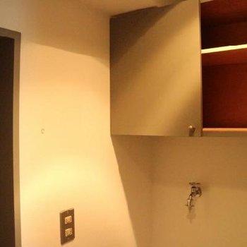 洗濯機置場の上にも戸棚。これはうれしい。
